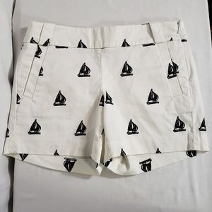 J.Crew Cino Shorts Sailboats White Black 37571